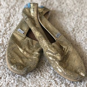 Women's Toms Gold Glitter Sparkly Shoes Sz 9